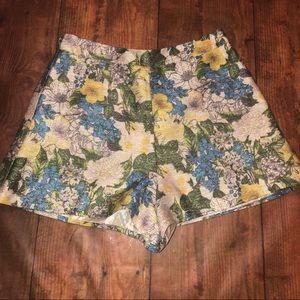 MUSTARD SEED~Metallic Floral High-waist Shorts~S